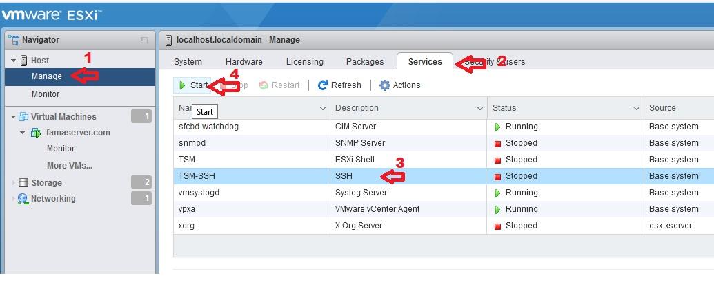فعال کردن ssh در esxi 6.7