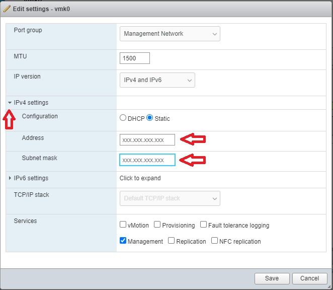 تغییر آیپی در esxi 6.7